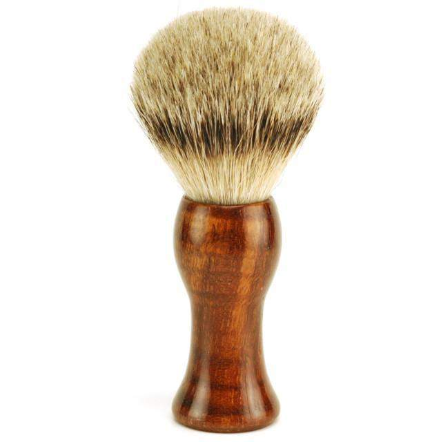 Harner 7/8 Stainless Steel, Quarter Hollow Ground, Curly Koa Scales w/ Matching Silvertip Badger Brush-