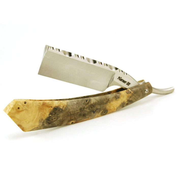 Harner 7/8 XHP Full-hollow Square Point Razor, with decorative spinework and buckeye burl scales-