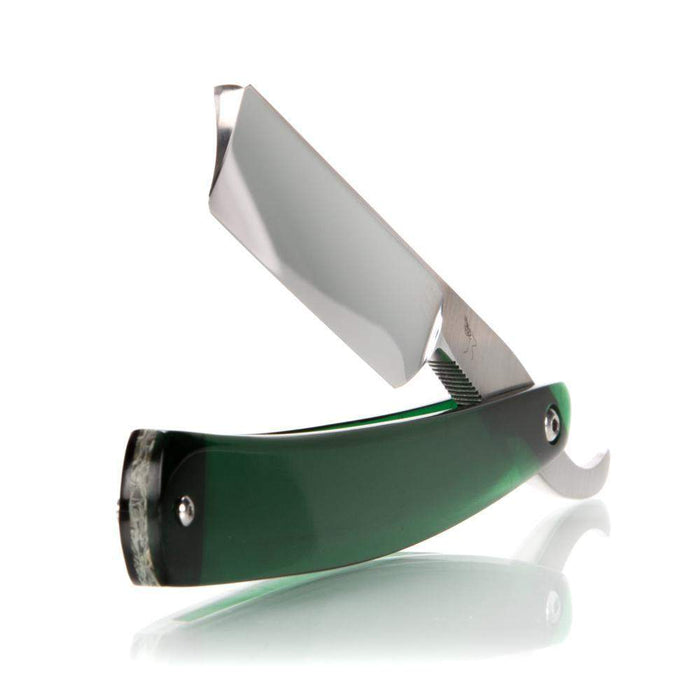Hart Custom #329: 6/8 Straight Razor w/ Barber's Notch and Green Acrylic Scales-