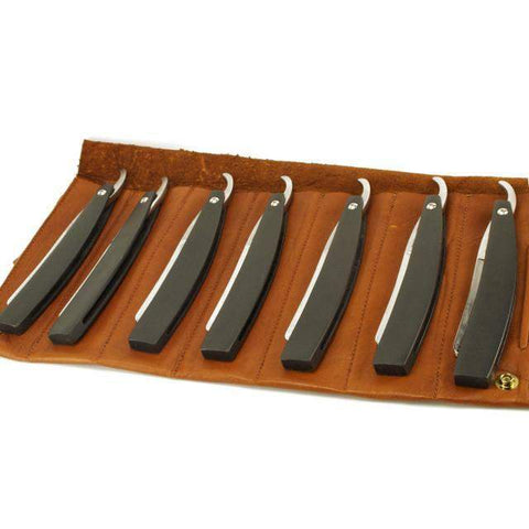 Hart Steel 7 Day Set, Black 6/8 Razors, Satin Finish, Round Point-