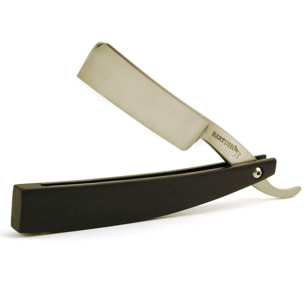 "Hart Steel ""Series One"" 6/8 Satin Square Jimpless Straight Razor with Black Resin scales-"
