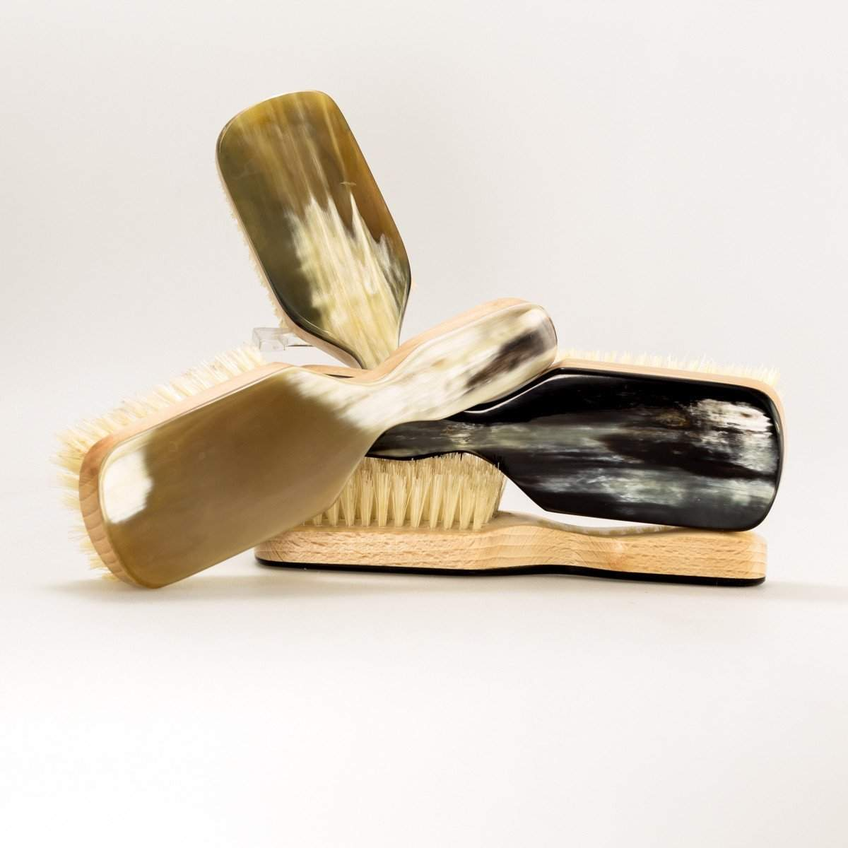 Horn Backed Club Handle Hair Brush-