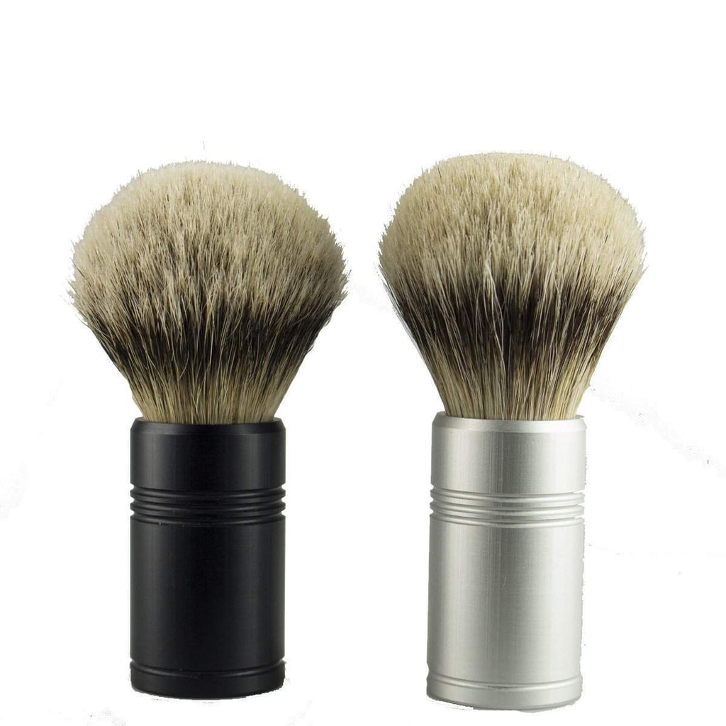 Leitch Anodized Aluminum Handle Shaving Brush-Silver
