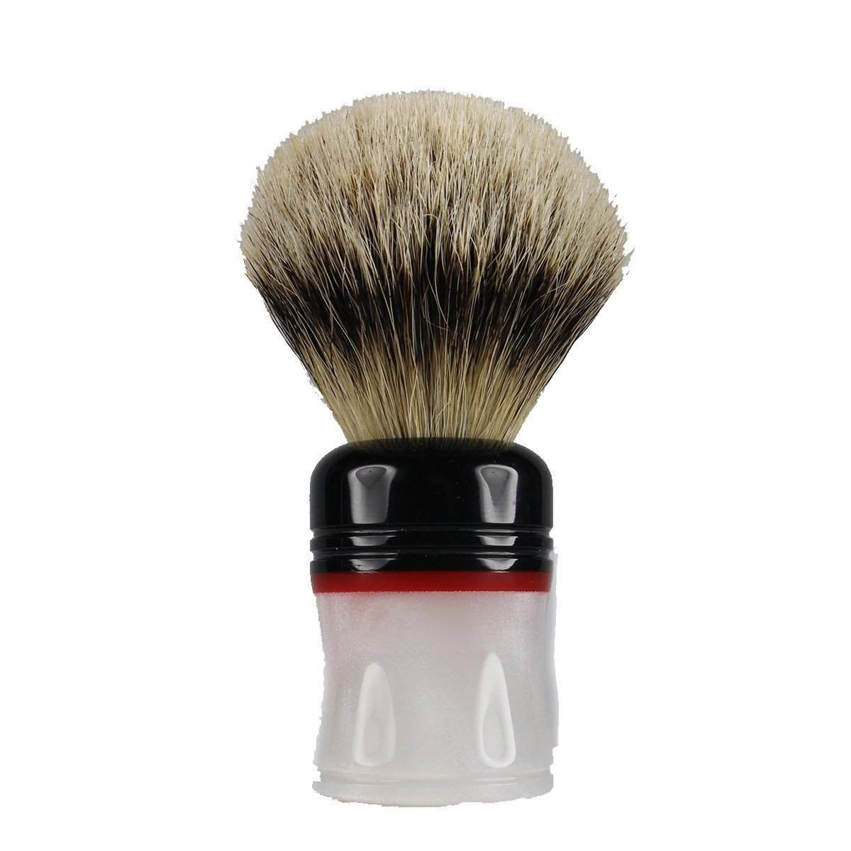 Leitch Hand Turned Acrylic Handle (Black, Red and Faux MOP) Shaving Br