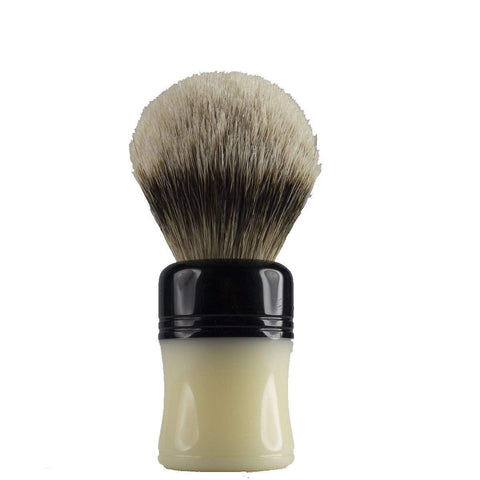 Leitch Hand Turned Acrylic Handle (Black, White) Shaving Brush-