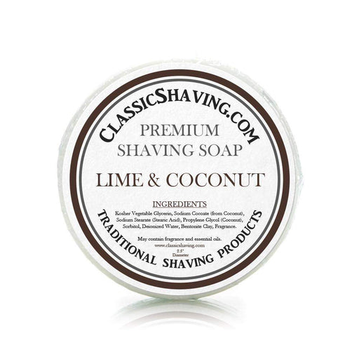 "Lime & Coconut Scent - Classic Shaving Mug Soap - 2.5"" Scuttle-"