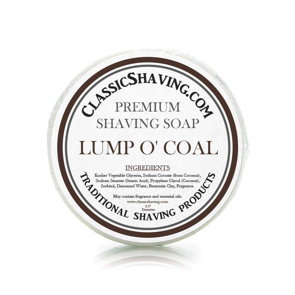 "Lump o' Coal Scent - Classic Shaving Mug Soap - 2.5"" Regular Size-"