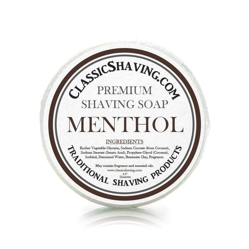 "Menthol Scent - Classic Shaving Mug Soap - 2.5"" Regular Size-"