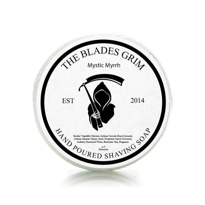 "Mystic Myrrh - The Blades Grim 2.5"" Shaving Soap-"