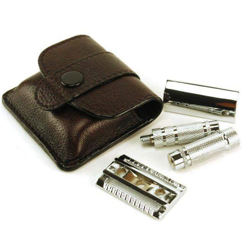 Parker Travel DE Safety Razor A1R with Leather Case-