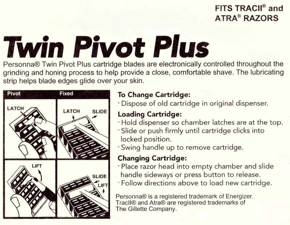 Personna Twin Pivot Plus Cartridges w/ Lubricating Strip - 10 Pack-