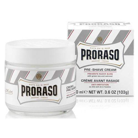 "Proraso Pre Shave Cream-""White"" Ultra Sensitive Skin Formula w/ Green Tea & Oat Extract"