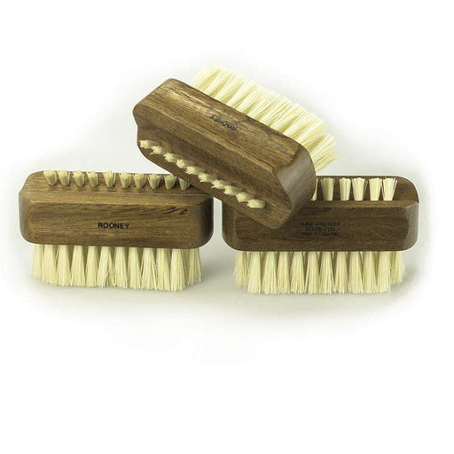 R.A. Rooney Nail Brush - Medium Double-Sided Natural Wood Nail Brush - 4+1 Bristle Rows - Brown-