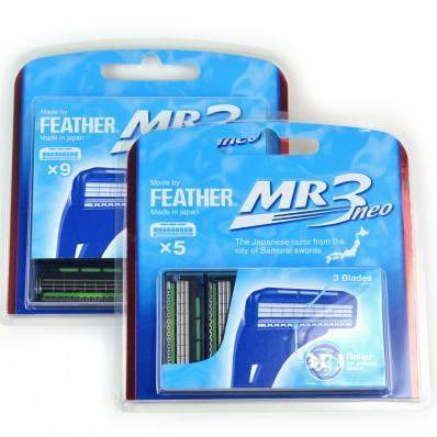 Replacement Blade Cartridges for Feather MR3 Neo Razors - 5- or 9- packs-5-pack