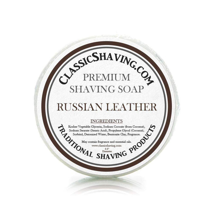 "Russian Leather Scent - Classic Shaving Mug Soap - 2.5"" Regular Size-"