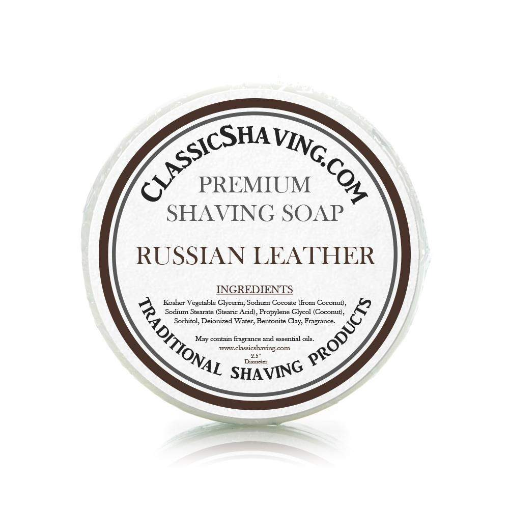 "Russian Leather Scent - Classic Shaving Mug Soap - 2.5"" Scuttle-"