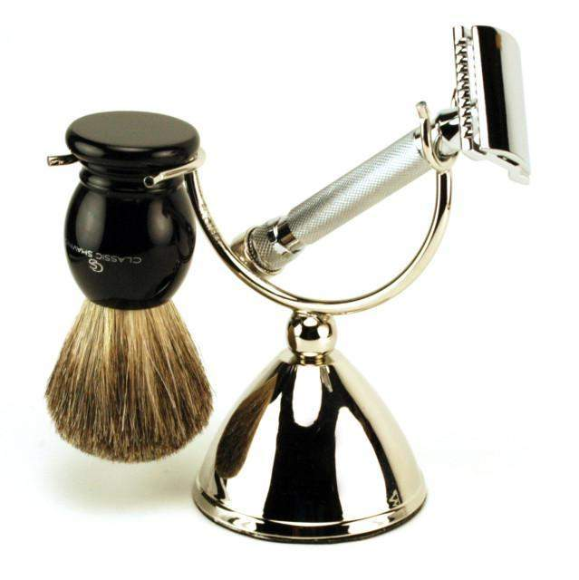 Safety or Straight Razor and Brush Crescent Stand-