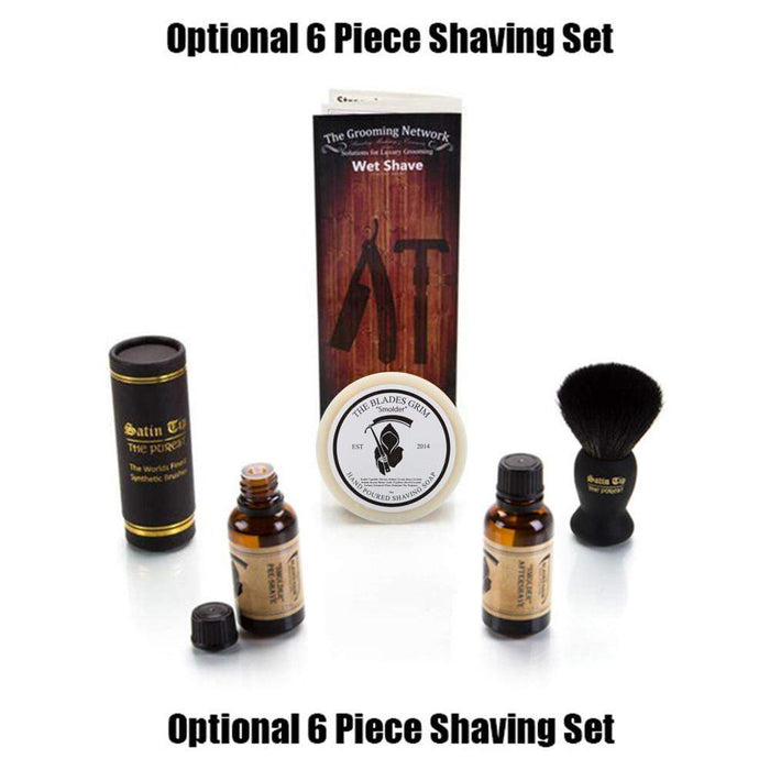 Safety Razor Cased in Deluxe Brown Cowhide - Non-Adjustable-