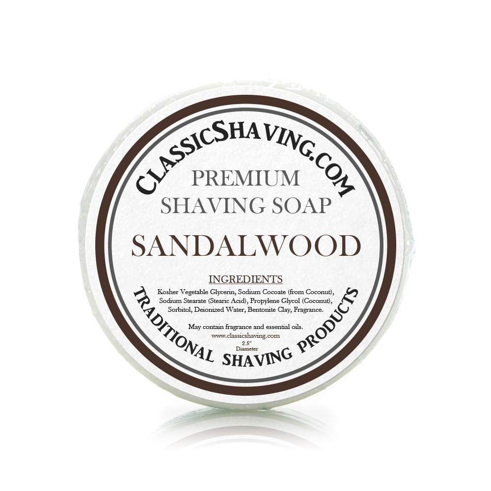 "Sandalwood Scent - Classic Shaving Mug Soap - 2.5"" Regular Size-"