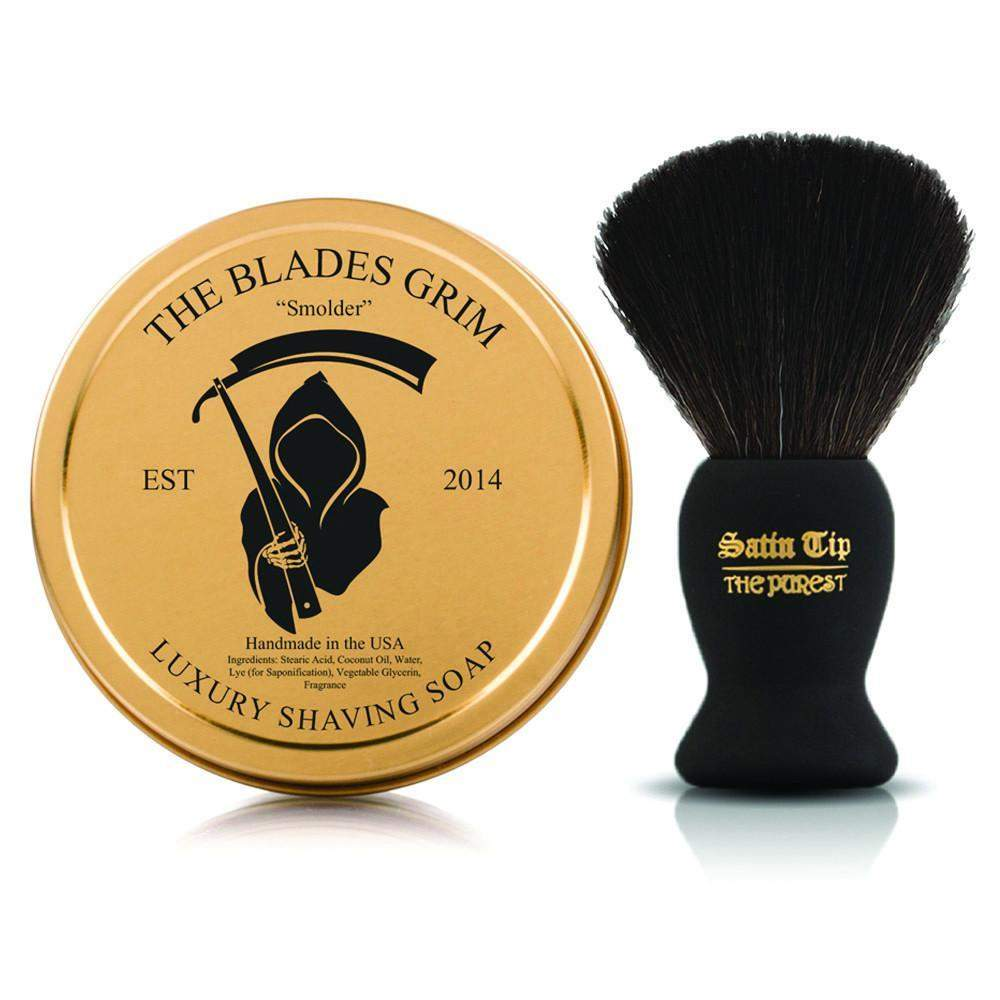 Smolder Soap and Satin Tip - The Purest Black Shave Brush Combo-