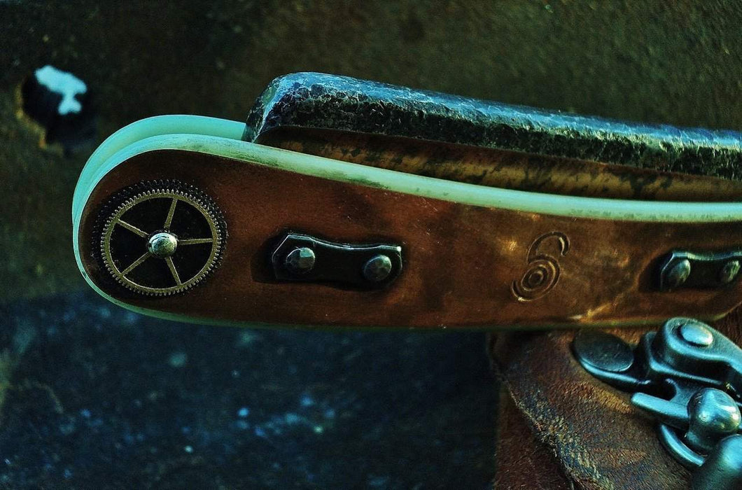 SOLD-Dylan Farnham #57 Copper-Plated 8/8 Steam Punk Straight Razor w/ Sheath-