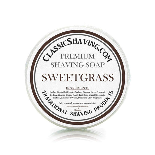 "Sweetgrass Scent - Classic Shaving Mug Soap - 2.5"" Regular Size-"