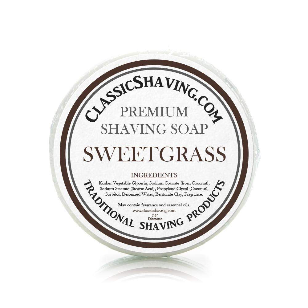 "Sweetgrass Scent - Classic Shaving Mug Soap - 2.5"" Scuttle-"