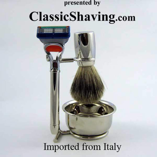 Swissco Fusion Style Italian Shave Set with Badger Brush-