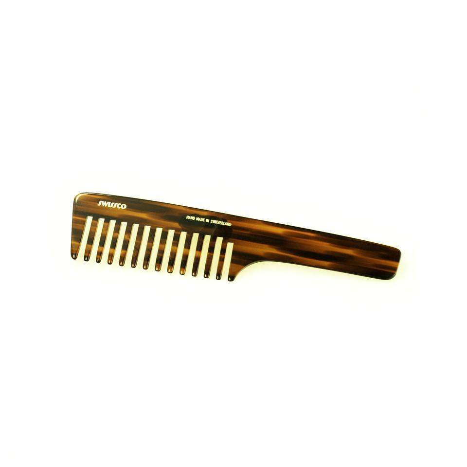 Swissco Tortoise Wide-Tooth Handle Comb 8.25 inch-