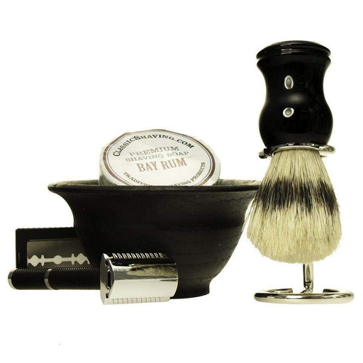 "The ""Basic Black"" D/E Shave Set-"
