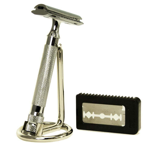 """Your Choice"" Safety Razor, Stand & Blades-"