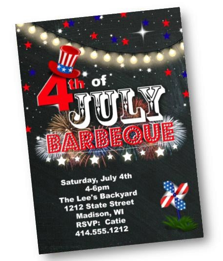 4th of July Barbecue Invitation - Independence Day Party Invite Chalkboard Red White Blue - Holiday Invitation