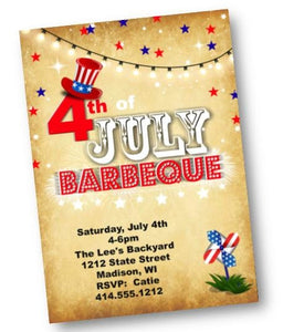4th of July Barbecue Invitation - Independence Day Party Invite Papyrus Red White Blue - Holiday Invitation