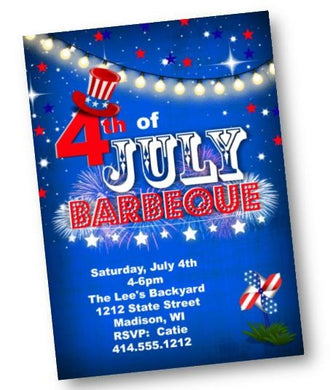 4th of July Barbecue Invitation - Independence Day Party Invite Red White Blue - Holiday Invitation