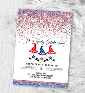 4th of July Party Invitation - 4th of July Birthday Invite Independence Day Party Invite Red White Blue