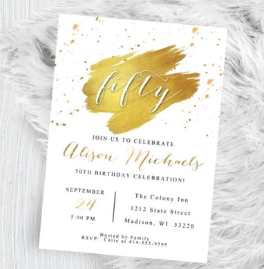 Adult Birthday Invitation for Men or Women - 40th - 50th - 60th - 70th - ANY AGE - White and Gold Birthday Party Invite - Birthday