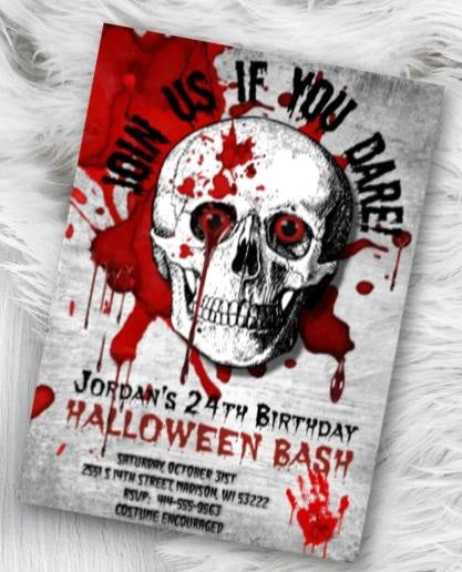 Adult Halloween Birthday Invitation - Scary Adult Skull Bloody Scary Halloween Party Invitation - Holiday Invitation
