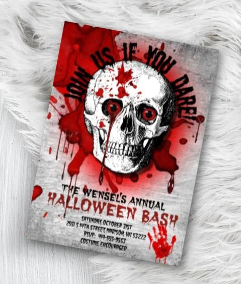 Adult Skull Halloween Invitation - Adult Skull Bloody Scary Halloween Party Invitation - Holiday Invitation