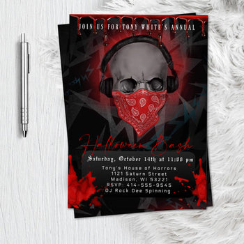 Adult Halloween Birthday Invitation  - Scary Adult Skull  Bloody Scary Halloween Party Invitation