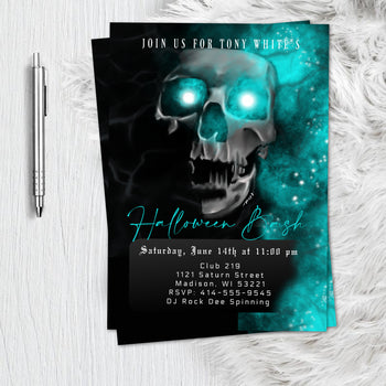 Adult Skull Halloween Birthday Invitation  - Scary Adult Skull Spooky scary Halloween Party Invitation