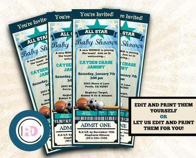 All Star Baby Shower Ticket Invitation - baseball sports Little Rookie Invitations - Digital or Printed - Baby Shower Invitation