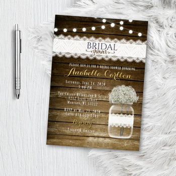 Babies Breath Bridal Shower Invitation - Rustic Printed or Printable Rustic Mason Jar Bridal Shower Invites