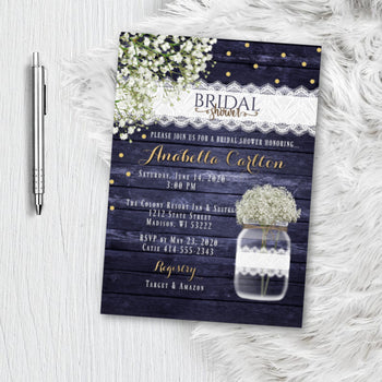Babies Breath Bridal Shower Invitation - Printed or Printable Rustic Mason Jar Bridal Shower Invites