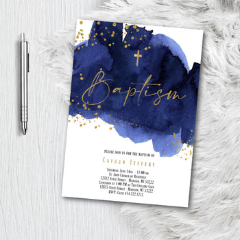 Baptism Invitation for Boy - Royal Navy Blue and Gold Watercolor splash with Glitter Confetti - Printed or Printable Invites