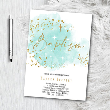 Baptism Invitation for Boy - Blue or Green and Gold Watercolor splash with Glitter Confetti - Printed or Printable Invites