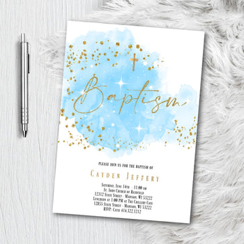 Baptism Invitation for Boy or Girl - Blue or Pink and Gold Watercolor splash with Glitter Confetti - Printed or Printable Invites