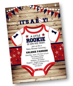 Baseball Baby Shower Invitation Flyer - Little Rookie - for boy - Baby Shower Invitation