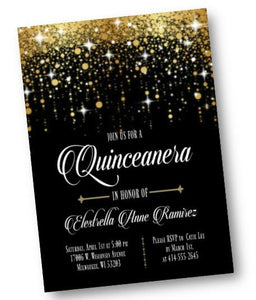 Black and Gold Sweet 16 Invitation - Sweet Sixteen or Sweet Fifteen Quinceanera invite - classic - elegant - 15 16 - ANY AGE! - Birthday