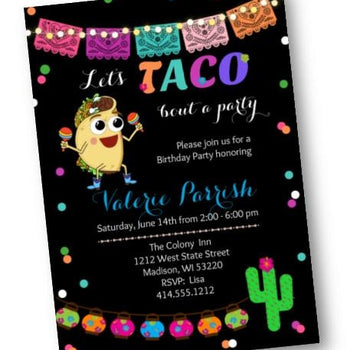 Black Colorful Taco Bout A Party - Birthday Fiesta Party Invitation - Invites for Taco Party - Birthday Invitation