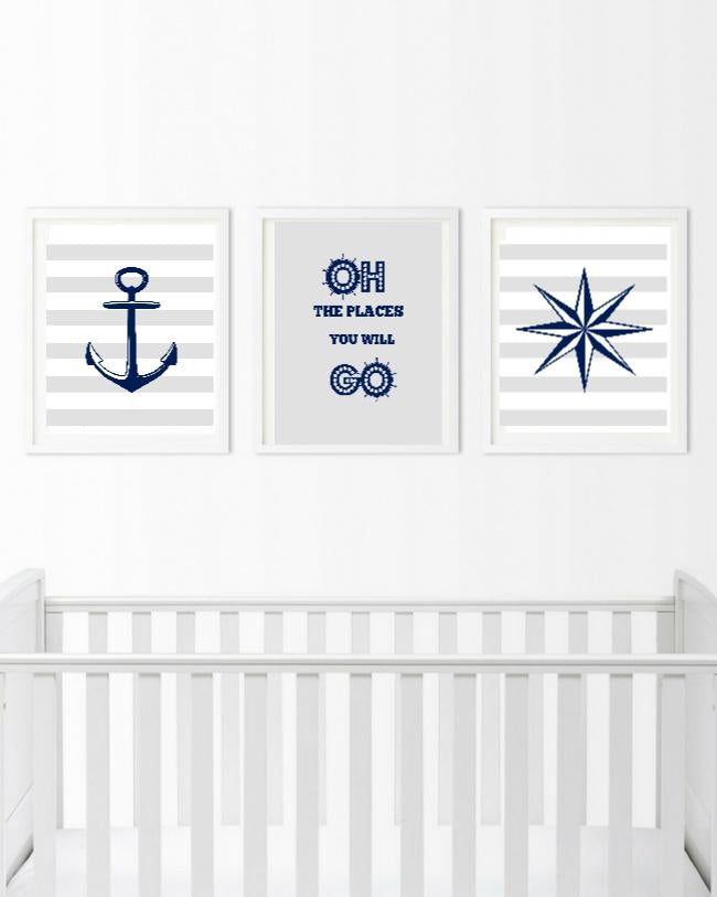 Blue and Gray Nautical Wall Art - 3 Piece Anchor Prints - Bedroom Pictures